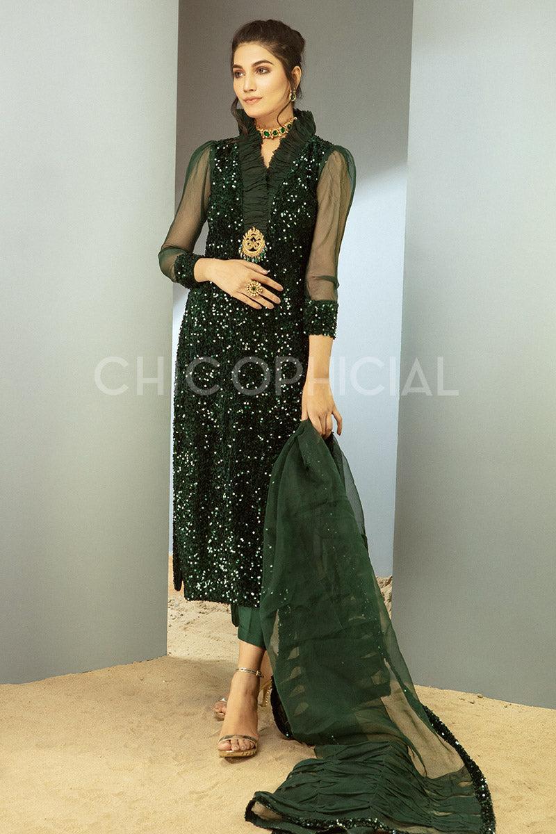 Emerald Sequin Velvet shirt