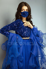 Blue Sequin Pishwas Mask Add on: