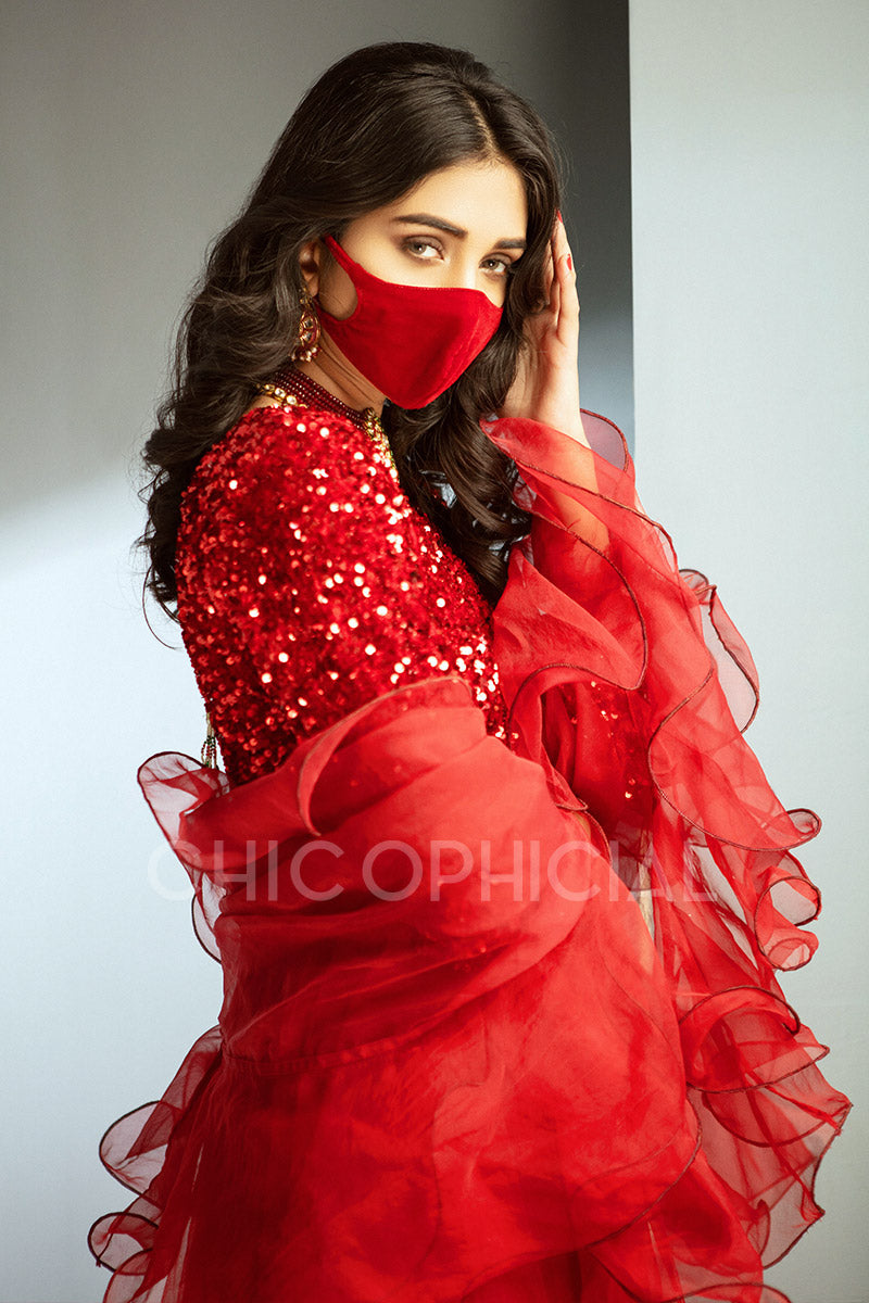 Ruby Red Sequin Pishwas Mask Add on: