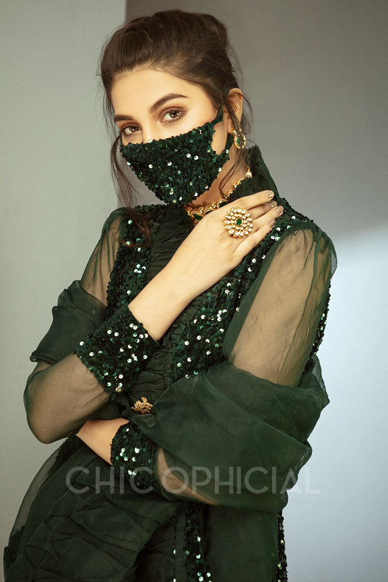 Emerald Sequin Velvet shirt Mask Add on: