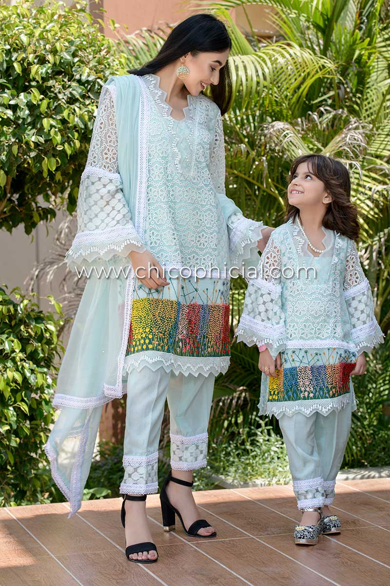 Aqua Blossom Mother Daughter Combo