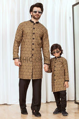 Brown Block Sherwani Father Son Combo