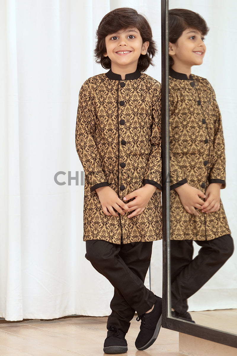 Brown Block Sherwani Kids