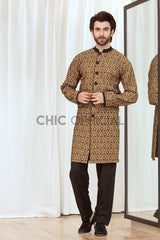 Brown Block Sherwani