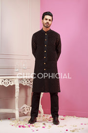 Black Block Kurta