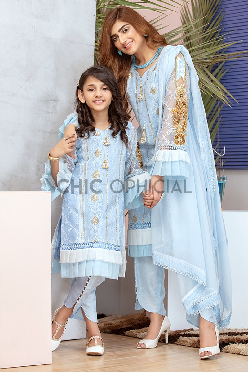 Blue Frills Mother Daughter Combo