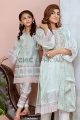 Mintgreen Blockprint Mother Daughter Combo