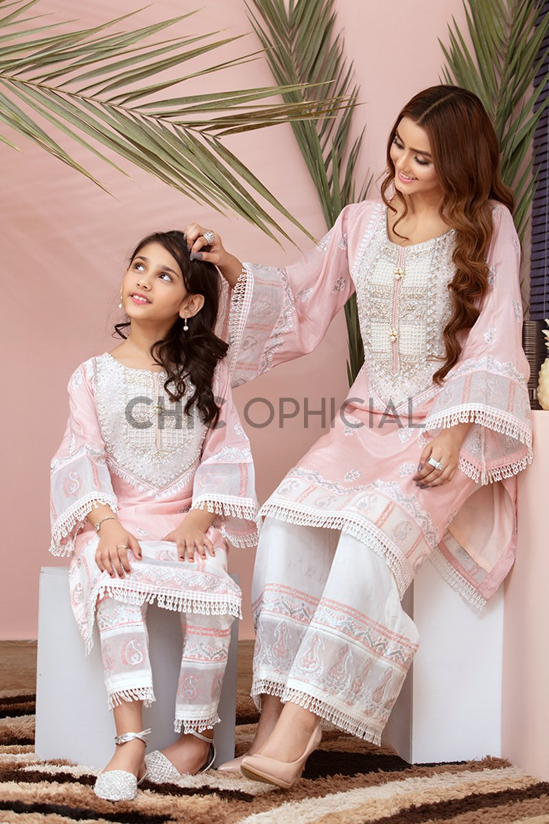 Powder pink Block print Mother Daughter Combo