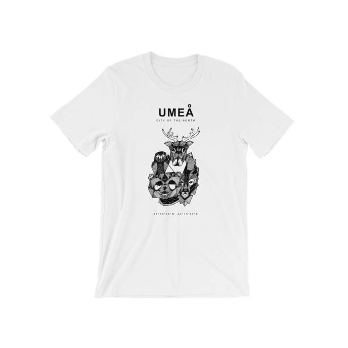 White t-shirt with the Umeå design with northern Swedish animals.