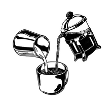 Load image into Gallery viewer, Hot coffee poured down from a French press, combined with cold milk from a metallic canister. Original artwork by Jonn Designs