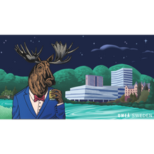 Load image into Gallery viewer, Drawing of a moose drinking booze in Umeå in front of the iconic Väven building.