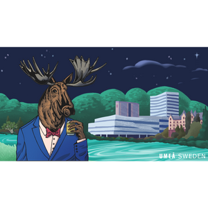 Drawing of a moose drinking booze in Umeå in front of the iconic Väven building.