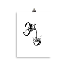 Load image into Gallery viewer, Poster of way too much coffee being poured from a moka pot. Original artwork by Jonn Designs