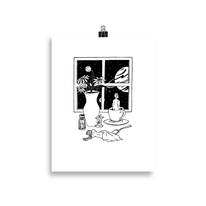 Poster with an abstract print of a man in a coffee cup and woman lying under a napkin. Original artwork by Jonn Designs.