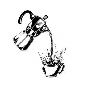 Way too much coffee being poured from a moka pot. Original artwork by Jonn Designs