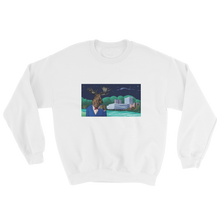 Load image into Gallery viewer, White sweater with a picture of a moose drinking booze in Umeå, Sweden, in front of the Väven building.