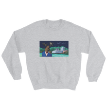 Load image into Gallery viewer, Grey sweater with a picture of a moose drinking booze in Umeå, Sweden, in front of the Väven building. Original design by Jonn Designs.