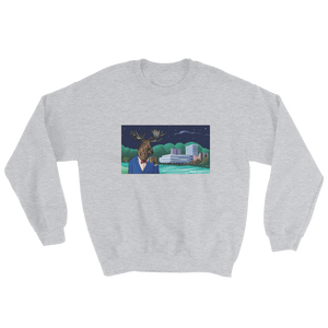 Grey sweater with a picture of a moose drinking booze in Umeå, Sweden, in front of the Väven building. Original design by Jonn Designs.