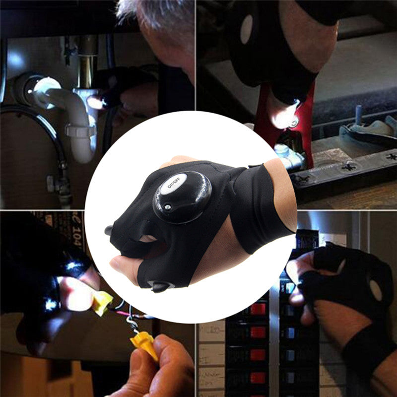 One Piece Fingerless Glove with LED Light