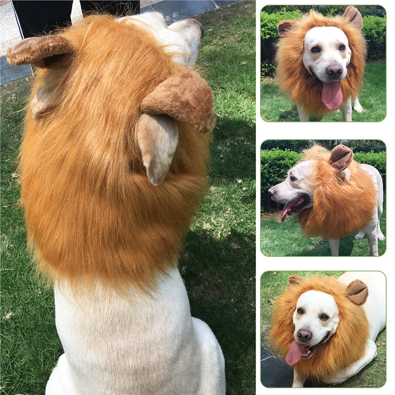 PBPBOX Pet Lion Headgear Hat Lion Hair Mane Costume with Ears for Dog Christmas Halloween Easter Festival Wig Cosplay Costume
