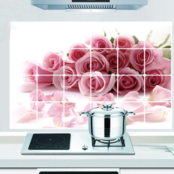 Red Rose Kitchen Stickers Waterproof Removable