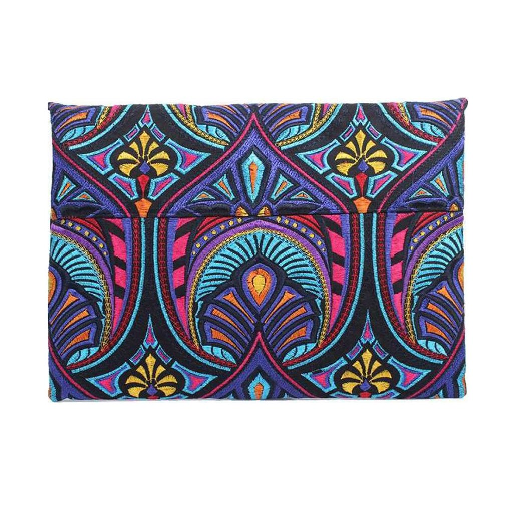 Embroidered Rainbow Clutch