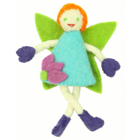 Hand Felted Tooth Fairy Pillow - Redhead with Blue Dress Handmade and Fair Trade