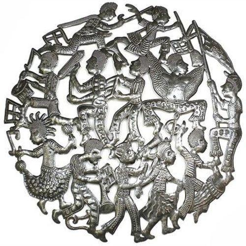 24-inch Rara Band Metal Wall Art Handmade and Fair Trade