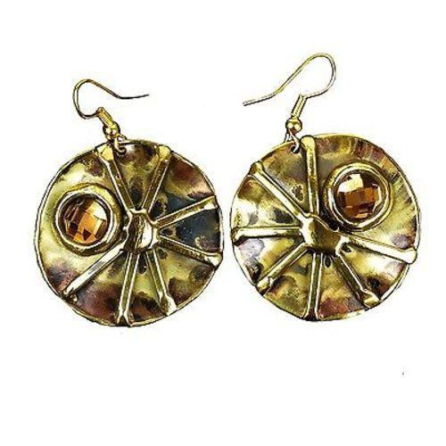 Crystal Sunburst Brass Earrings Handmade and Fair Trade