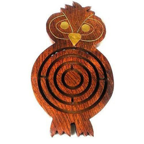Handmade Wooden Night Owl Labyrinth Handmade and Fair Trade