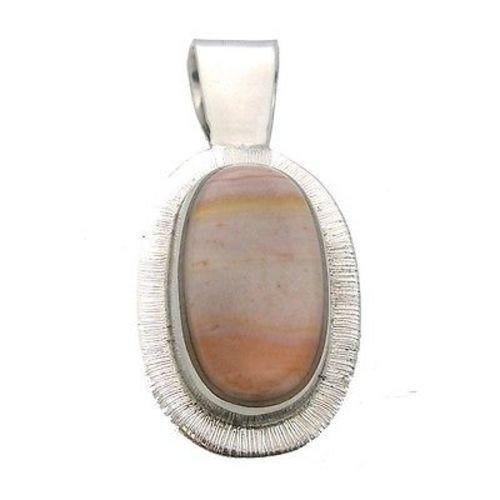 Tiger Stone Oval Alpaca Silver Pendant Handmade and Fair Trade