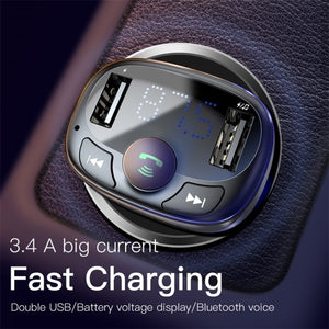 Baseus T typed Car Charger Bluetooth Transmitter - Deal Gamed
