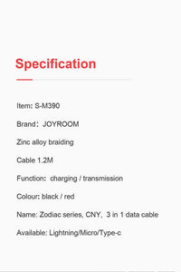 Joyroom S-M390 Zodiac series, CNY, 3 in 1 data cable - Deal Gamed