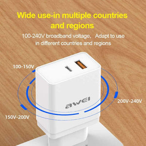 AWEI C-980 18W QC3.0 PD Vooc Type-C Charger - Deal Gamed