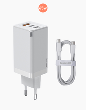 Load image into Gallery viewer, Baseus GaN2 Quick Charger 65W With Mini Cable USB-C To C White
