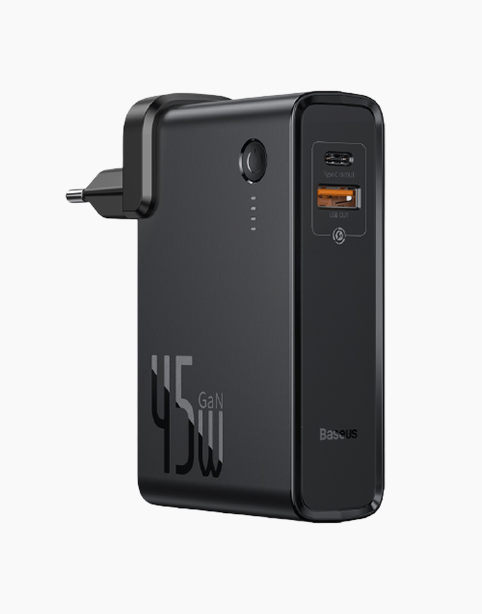 Baseus Power Station GaN 2*1 Fast Charger & Power Bank 10000mAh 45W Black - Deal Gamed