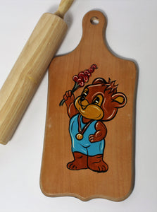 Cutting board cute bear with flower