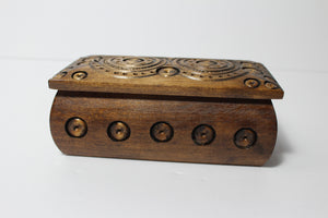 Medium rectangle carved wood box