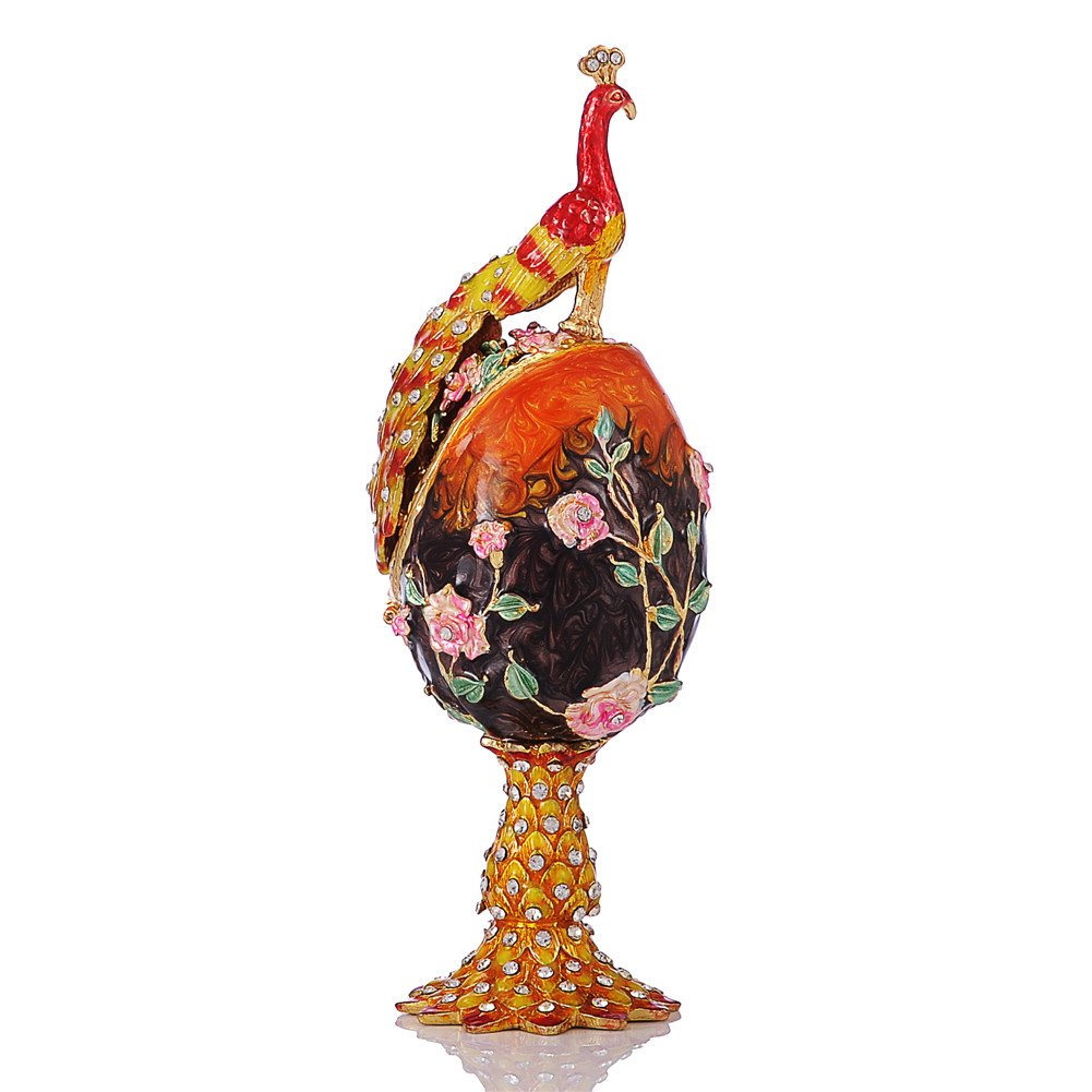 Hand Painted Enameled Faberge Egg Style Decorative Hinged Jewelry Trinket Box Unique Gift for Home Decor
