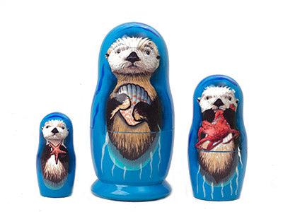 Sea Otter Nesting Doll 3pc