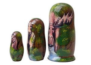 Moose Nesting Doll 3pc