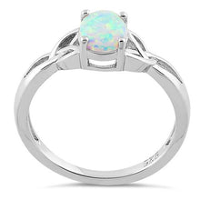 Load image into Gallery viewer, Sterling Silver Center Stone Charmed White Lab Opal Ring
