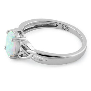 Sterling Silver Center Stone Charmed White Lab Opal Ring