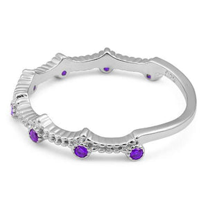 Sterling Silver 8 Amethyst CZ Ring