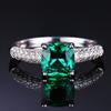 1.8ct Green Russian Nano Created Emerald Solitaire Engagement Ring For Women 925 Sterling Silver Jewelry