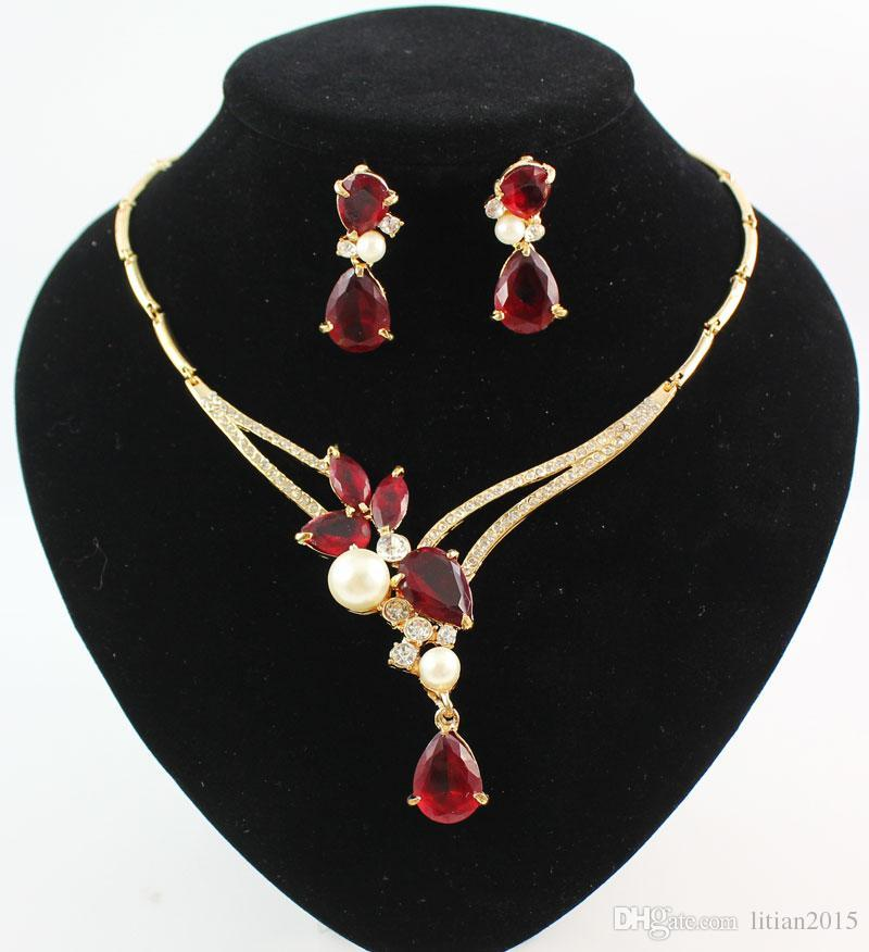 Crystal Pendants Necklace Earring Sets Red