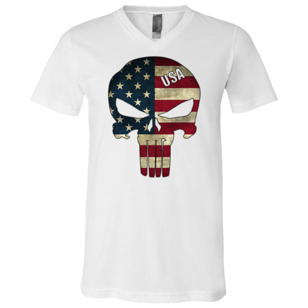 American Skull Flag Men's V-Neck T-Shirt