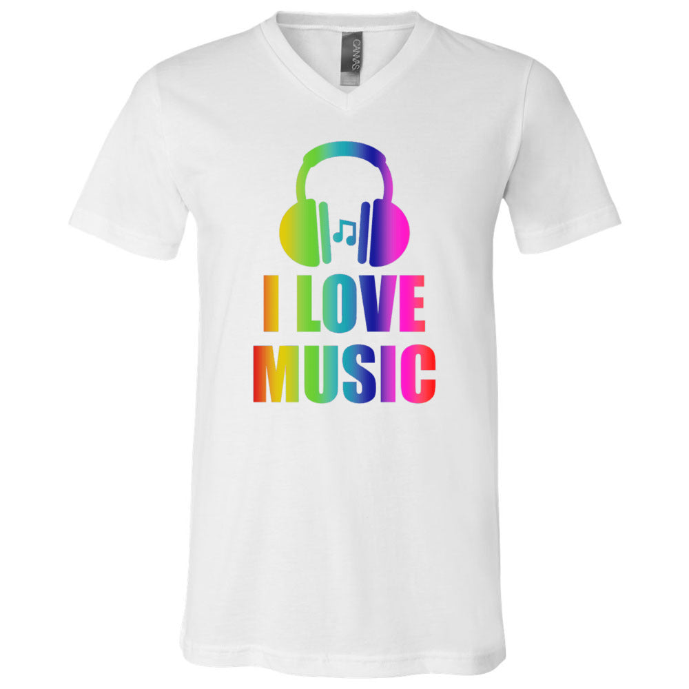 I Love Music Men's V-Neck T-Shirt
