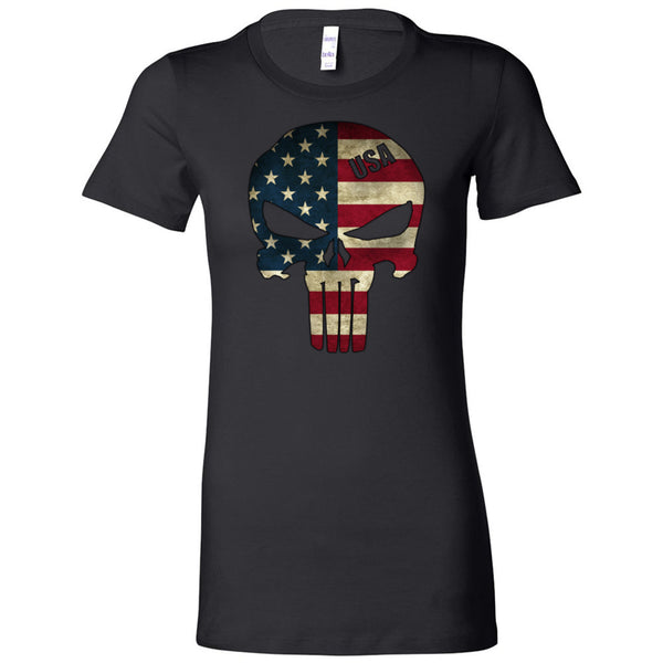 American Skull Flag Women's T-Shirt