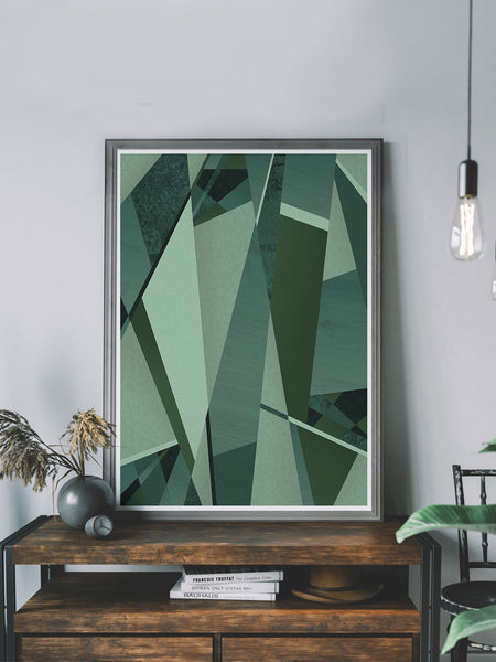 Forest Greens Geometric Art Print